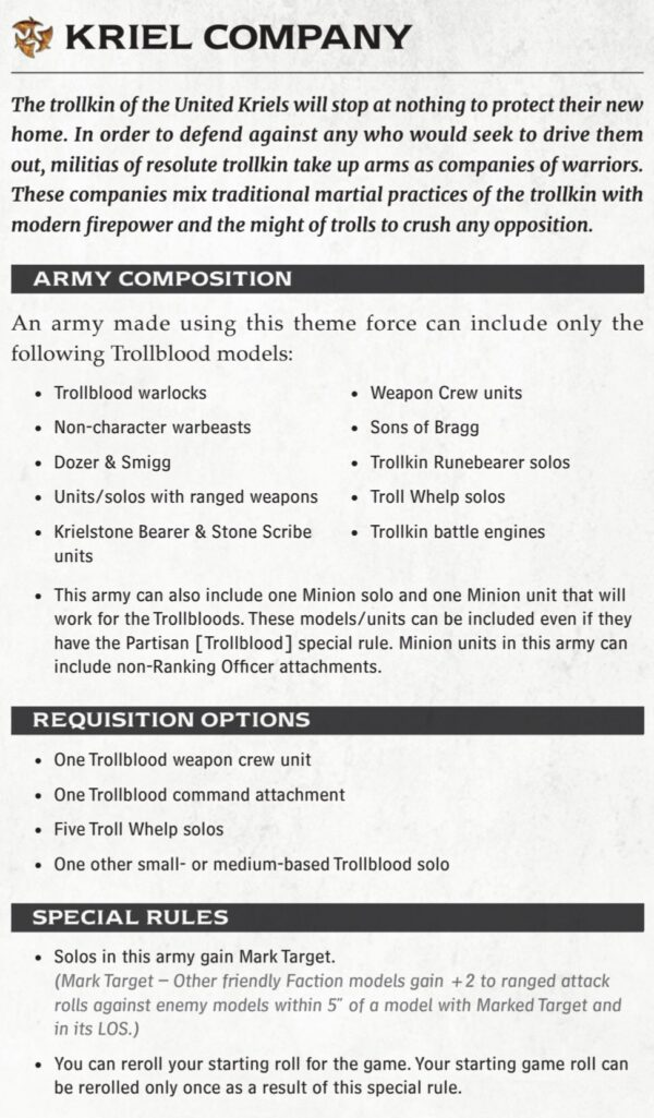 Theme Forces Revisited: Kriel Company – Privateer Press